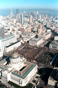 Multitudes of demonstrators throng the streets of San Francisco on Saturday, January 18