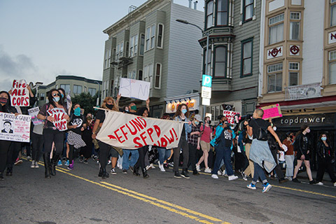 March and Demonstration to Defund SFPD Targets Police Station