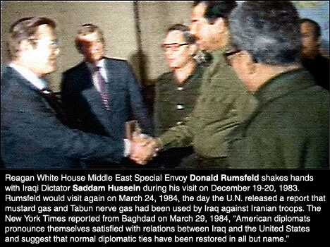 Rumsfeld meets and greets Saddam