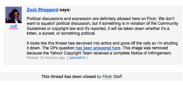 Flickr Shuts Down Forum Discussion On Obama Joker Image flickr censor