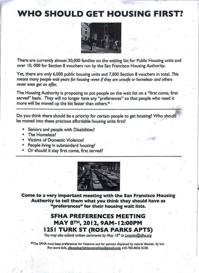 Sf Housing Authority Meeting On Wait List Preferences