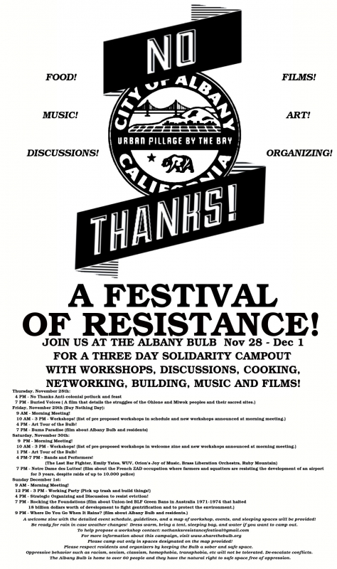 No Thanks Resistance Festival this weekend at the albany