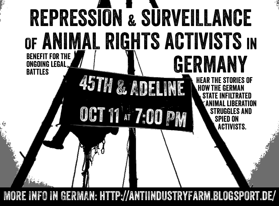 Repression & Surveillance of Animal Rights Activists in Germany @ Oakland | California | United States