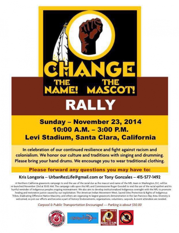 Change the Name! Change the Mascot!  @ Levi Stadium  | Santa Clara | California | United States