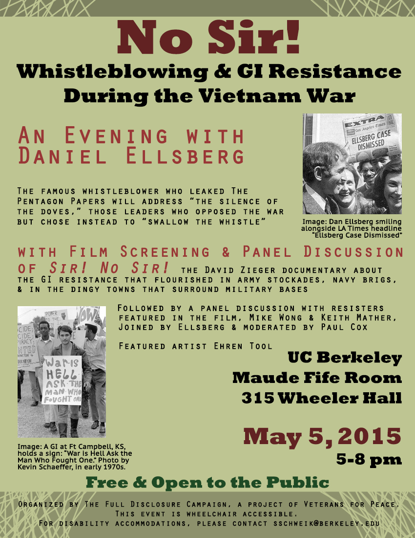 An Evening With Daniel Ellsberg: Whistleblowing and GI Resistance Vietnam @ Maude Fife Room, 315 Wheeler Hall | Berkeley | California | United States