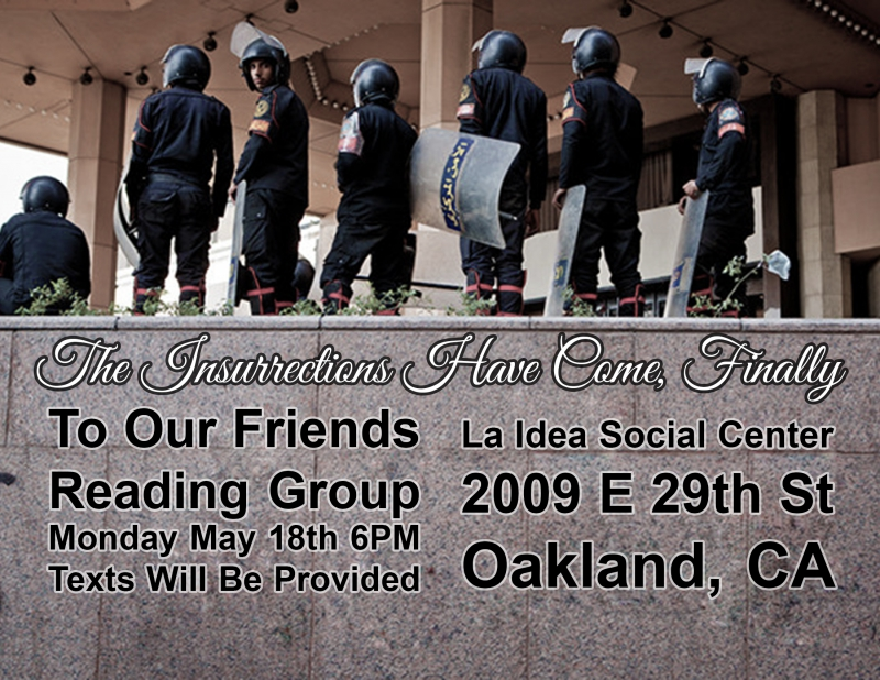 """To Our Friends"" Reading Group. @ Oakland 