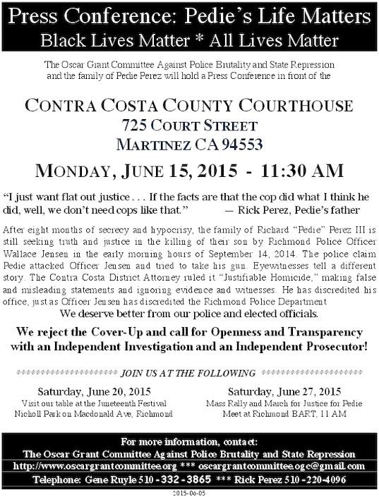 Press Conference For Pedie Perez @ Martinez Superior Court | Martinez | California | United States