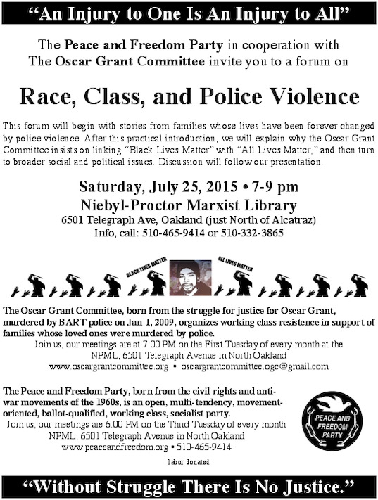 Race, Class and Police Violence @ Niebyl-Proctor Library | Oakland | California | United States