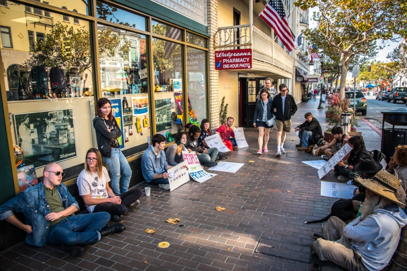 Sit Ins Reclaim Public Space In Downtown Monterey Indybay