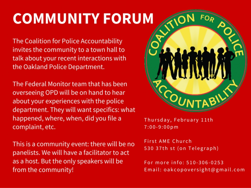 Community Forum on OPD @ First AME Church | Oakland | California | United States