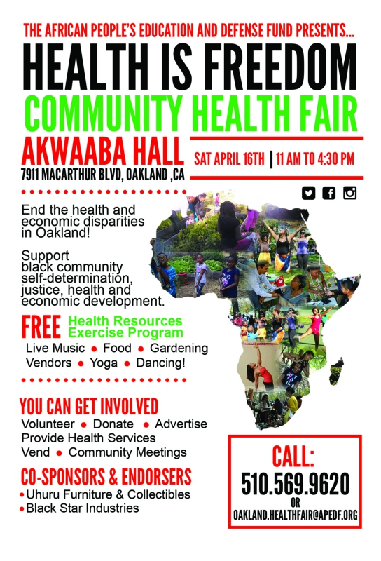 Title:	Health is Freedom Community Health Fair @ Uhuru House | Oakland | California | United States