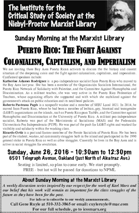 Puerto Rico: The Fight Against Colonialism, Capitalism, and Imperialism @ Niebyl-Proctor Library | Oakland | California | United States