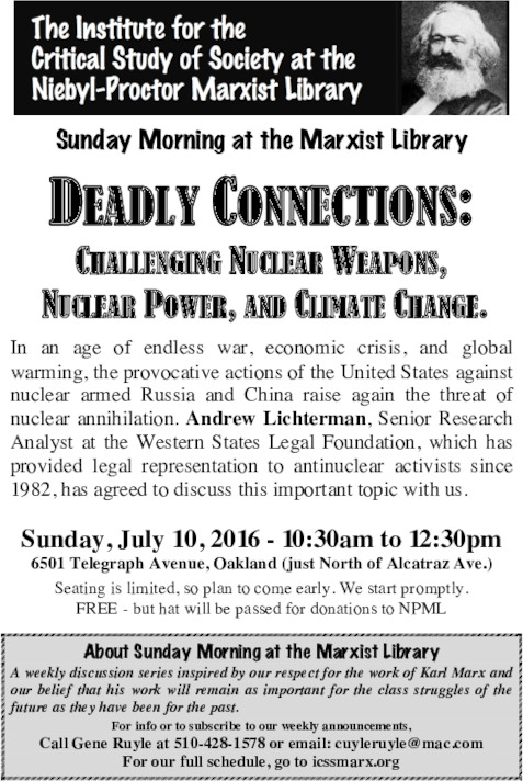 Challenging Nuclear Weapons, Nuclear Power and Climate Change @ Niebyl-Proctor Library | Bloomfield Township | Michigan | United States