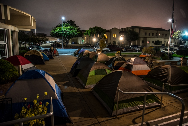 Santa Cruz News >> Following the Chinatown Homeless Sweeps, A New Tent Community Thrives at Salinas City Hall : Indybay