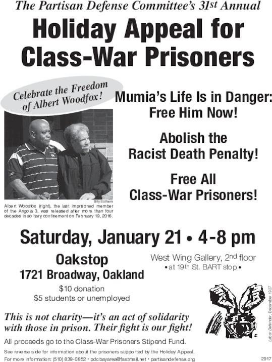 Holiday Appeal for Class-War Prisoners (FundRaiser) @ Oakstop | Oakland | California | United States