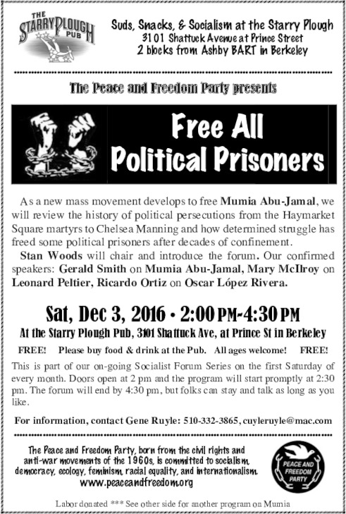 Free All Political Prisoners @ Starry Plough | Berkeley | California | United States