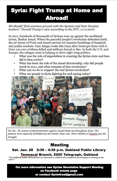 Syria: Fight Trump at Home and Abroad @ Temescal Library | Oakland | California | United States