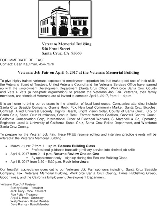 veterans job fair indybay