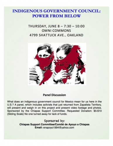 Indigenous Government Council for Mexico - A Panel Discussion. @ Omni Commons | Oakland | California | United States