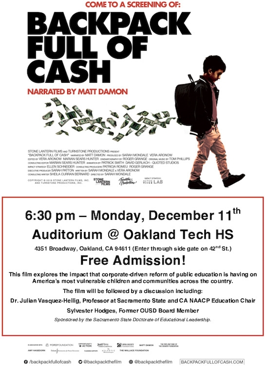 Backpack Full of Cash Movie Screening @ Auditorium at Oakland Technical High School: Enter through the side gate on 42nd St. | Oakland | California | United States