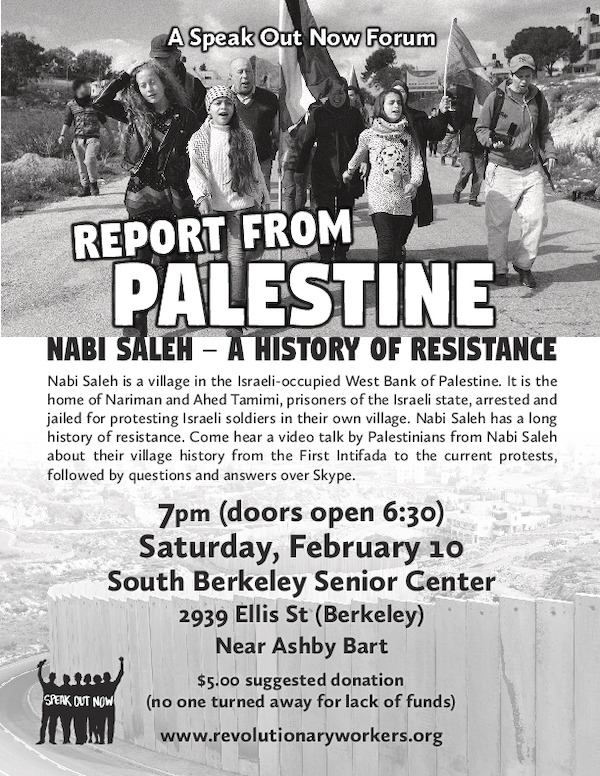 Report from Palestine: Nabi Saleh – A History of Resistance @ South Berkeley Senior Center | Berkeley | California | United States