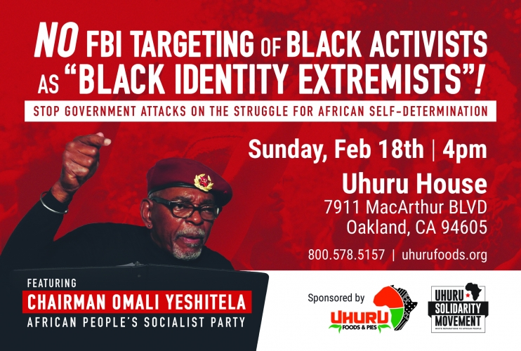 No FBI Targeting of Black Activists @ Uhuru House | Oakland | California | United States