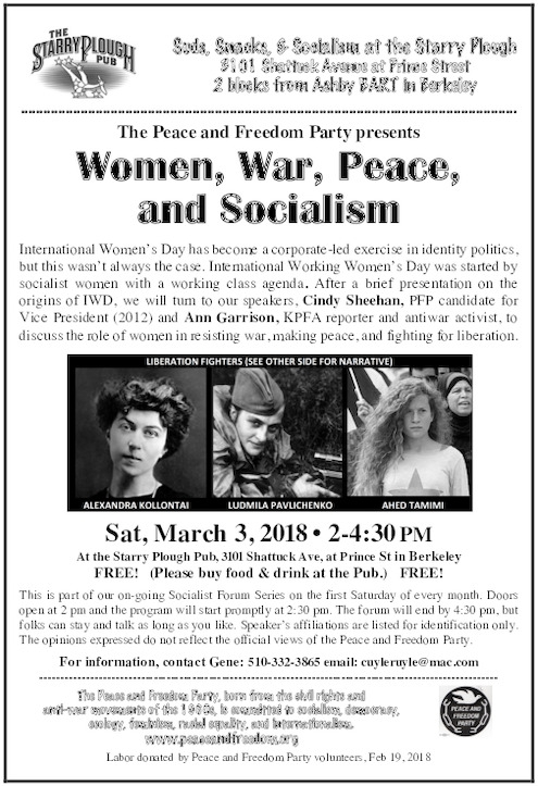 Women, War, Peace, and Socialism @ Starry Plough   Berkeley   California   United States