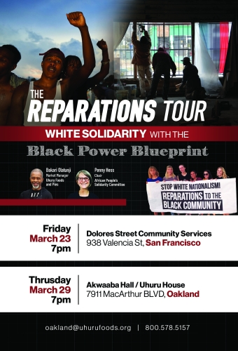 The Reparations Tour: White Solidarity with Black Power Blueprint @ Akwaaba Hall,  Uhuru House | Oakland | California | United States