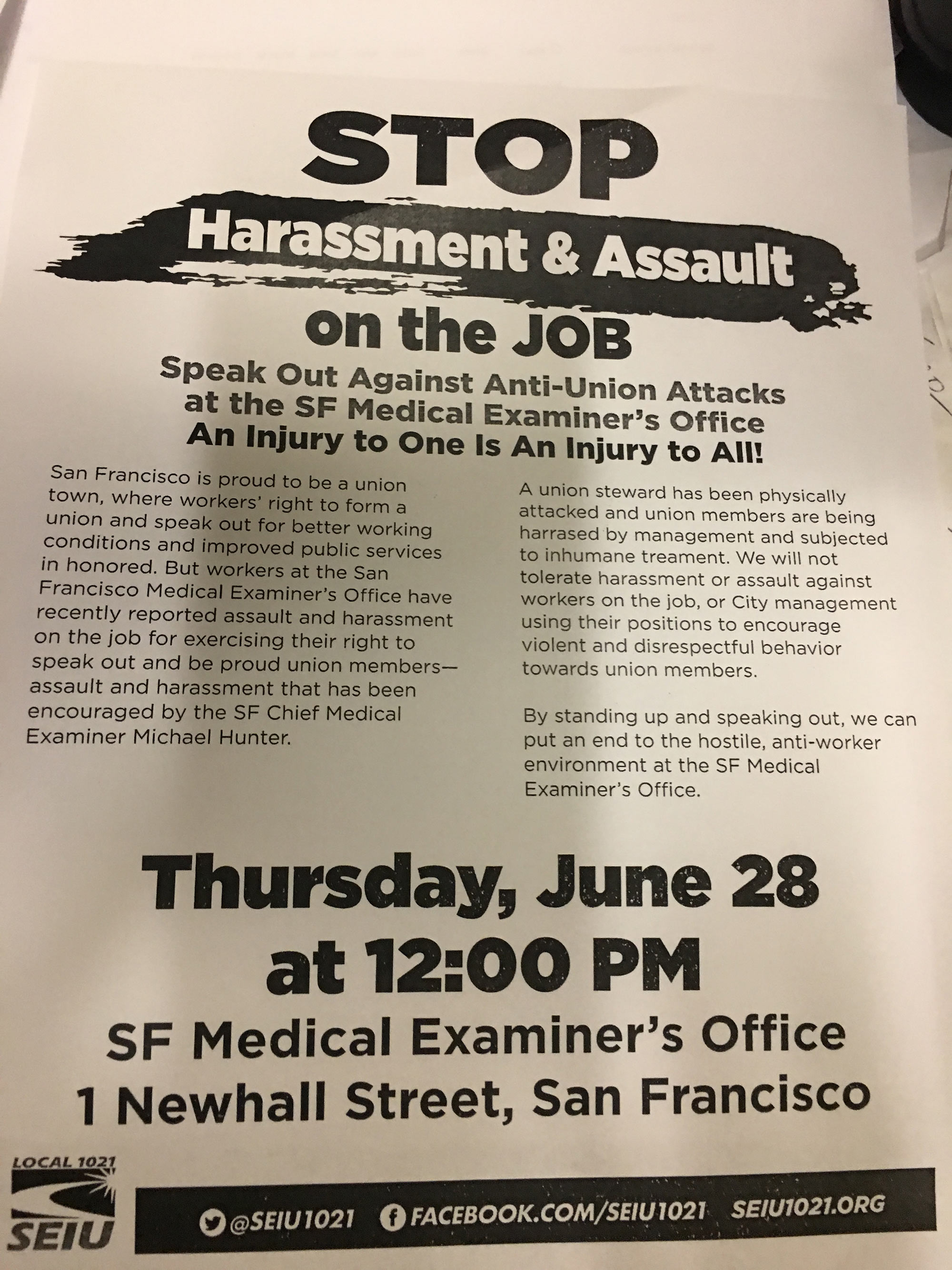 SEIU1021 Protest Stop Physical Assaults On Union Members & Bullying ...