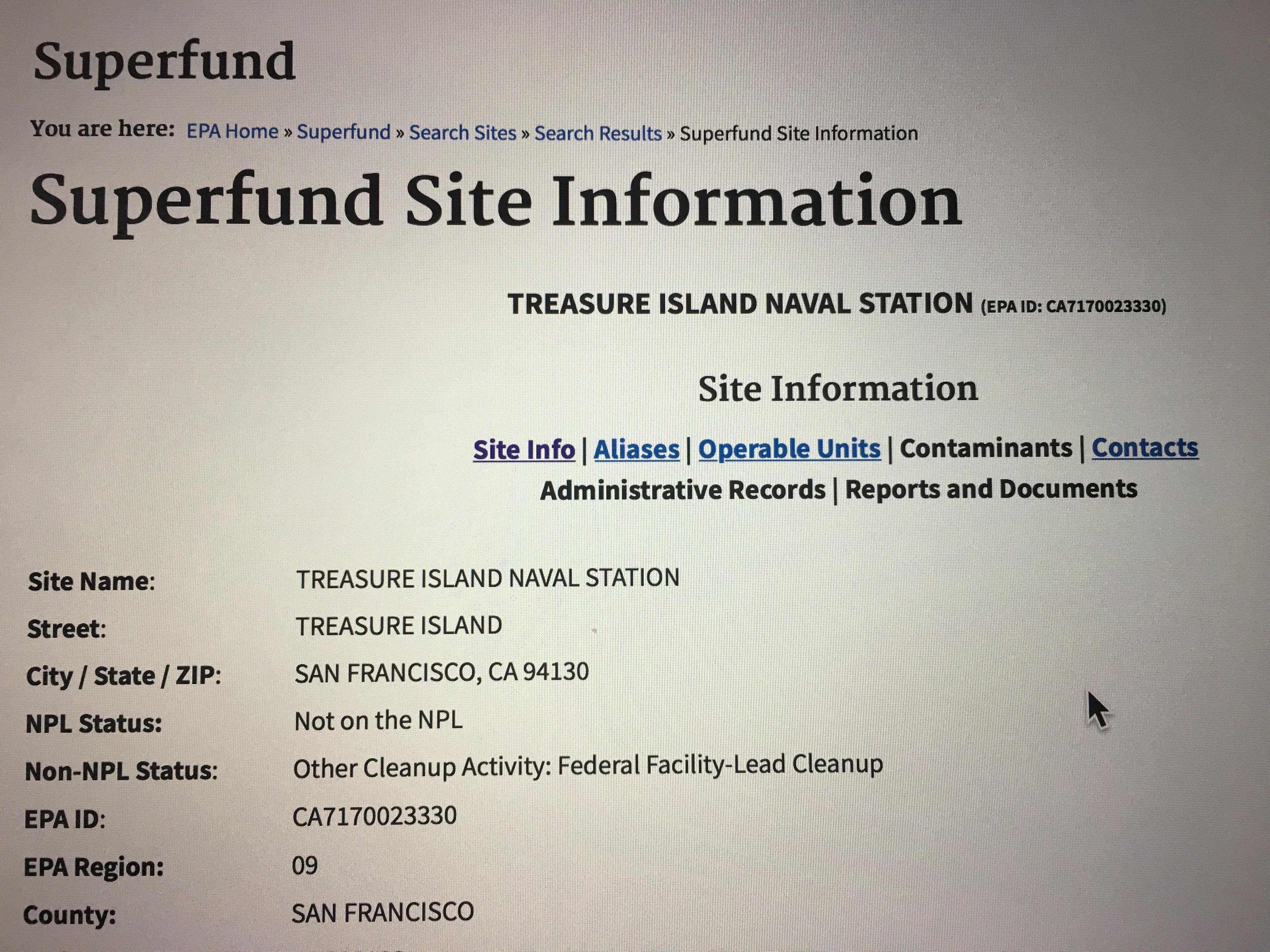 Treasure Island Superfund