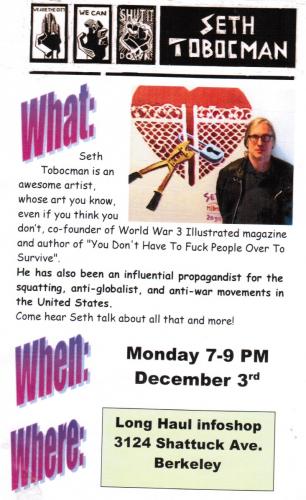 Seth Tobocman - radical artist in conversation @ Longhaul | Berkeley | California | United States
