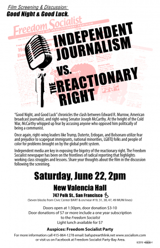Film Screening & Discussion: Good Night & Good Luck. Independent Journalism vs... @ New Valencia Hall