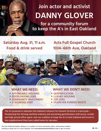 Rally With Danny Glover Against Gentrification & A's Stadium In Port @ Acts Full Gospel Church