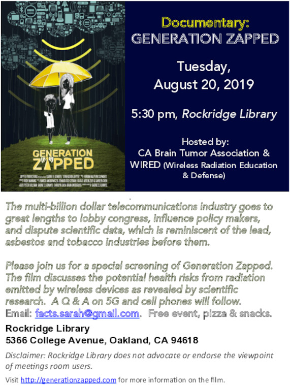 Generation Zapped film at Rockridge Library & pizza @ Rockridge Library