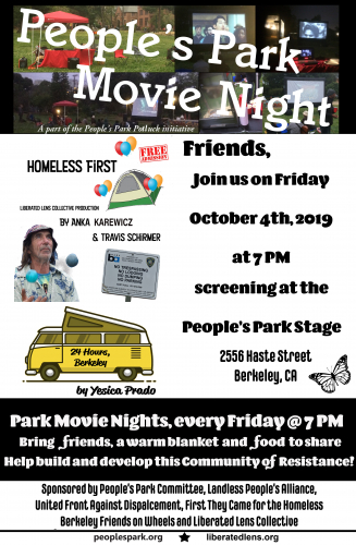 People's Park Movie Night: Homeless First + 24 Hours @ People's Park