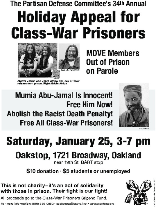 Appeal for Class-War Prisoners @ Oakstop