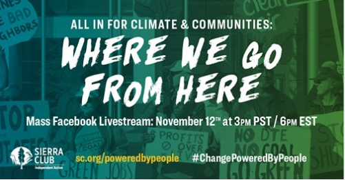 Where We Go From Here: All In For Climate & Equitable Communities w/ Sierra Club @ Online