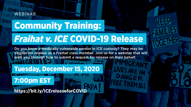 Community Training: How to Request Release For Medically Vulnerable People in ICE Custody @ Online