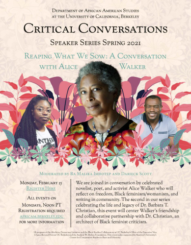 Reaping What We Sow: A Conversation with Pulitzer Prize Winner Alice Walker @ Online