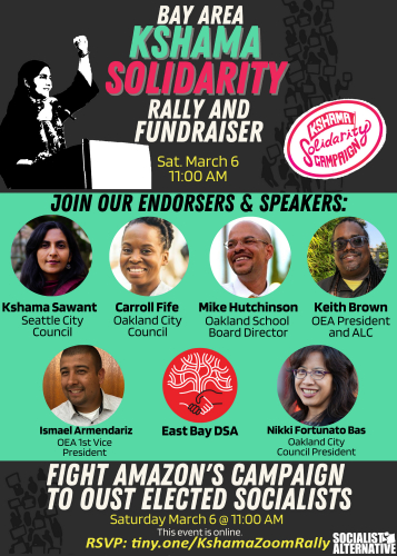 Bay Area Kshama Sawant Solidarity Rally and Fundraiser @ Online