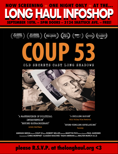 """ONE-TIME screening of 1953 Iranian coup expose' film """"COUP 53"""" at the LONG HAUL INFOSHOP @ Longhaul"""