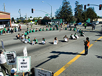 UC Workers and Students Block California Highway 1 in Santa Cruz to Protest Poverty Wages