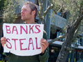"Demonstration at Wells Fargo in Santa Cruz: ""Drop the Charges! Bust the Banksters!"""
