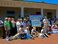 Supporters of Right to Vote on Desal Turn in Petitions at Santa Cruz City Hall