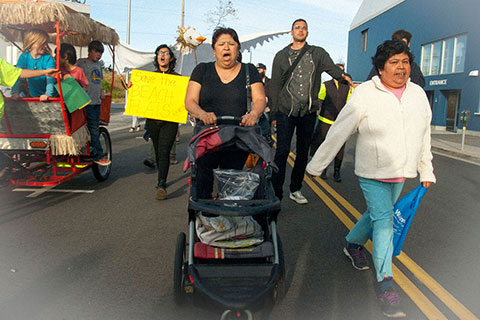 Beach Flats Gardeners and Supporters March To Santa Cruz City Hall