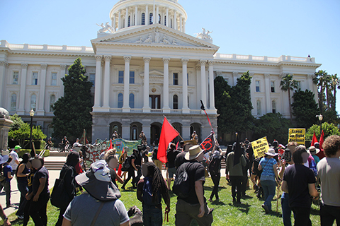 Anti-Fascists Shut Down Nazi Rally at California State Capitol