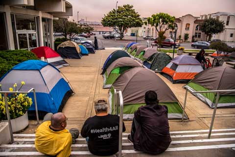 Monterey County Homeless Union Establishes Tent Community at Salinas City Hall