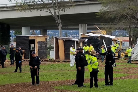 Oakland Deploys an Army of Police and Public Works Employees to Destroy Homeless Sanctuary