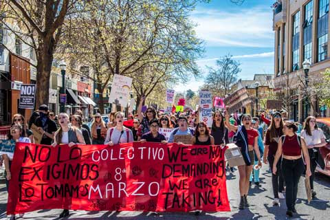 Downtown Streets Blocked in Santa Cruz During International Women's Day Strike