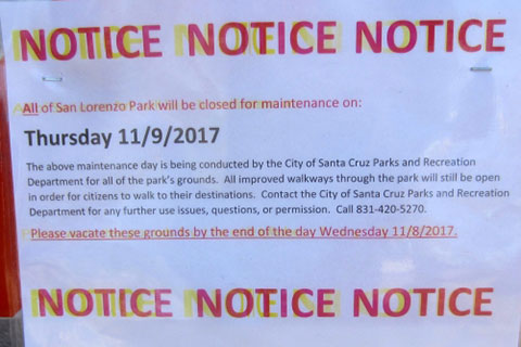 Eviction Notice Posted for Homeless Folks at San Lorenzo Park